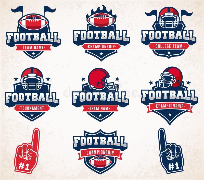 Vector Football logos and insignias stock illustration