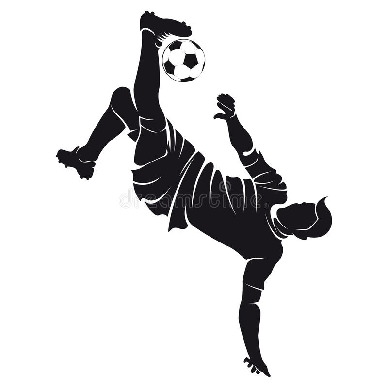 Vector football (soccer) player silhouette with ba stock illustration