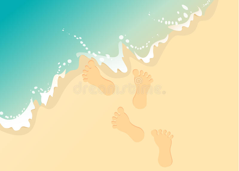 Vector Footprints in the sand stock photo