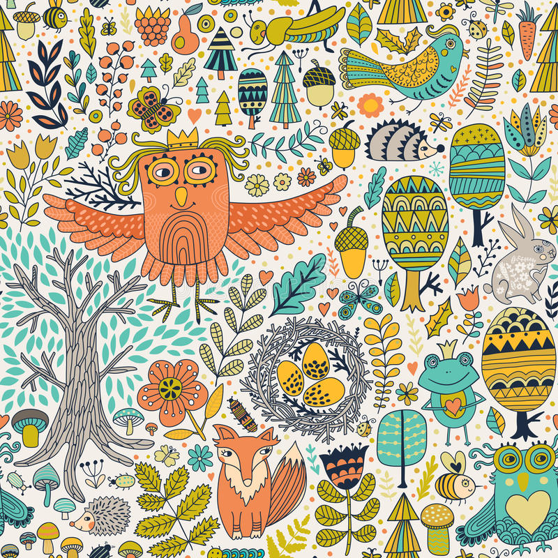 Vector forest design, floral seamless pattern with forest animals: frog, fox, owl, rabbit, hedgehog. royalty free illustration