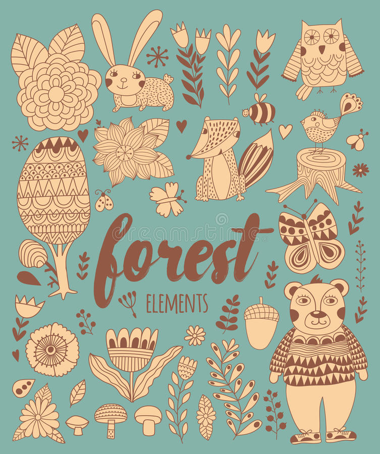 Vector forest elements in doodle childish style vector illustration