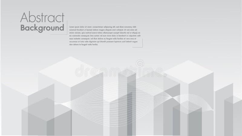Vector a forma geométrica do fundo branco abstrato dos cubos cinzentos O espaço dos quadrados brancos para o texto edita ilustração do vetor