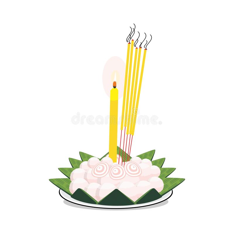 Vector format of Cambodian Bai Ben on white plate on white background. Bai ben is for praying to ancestors in Cambodia`s culture stock illustration
