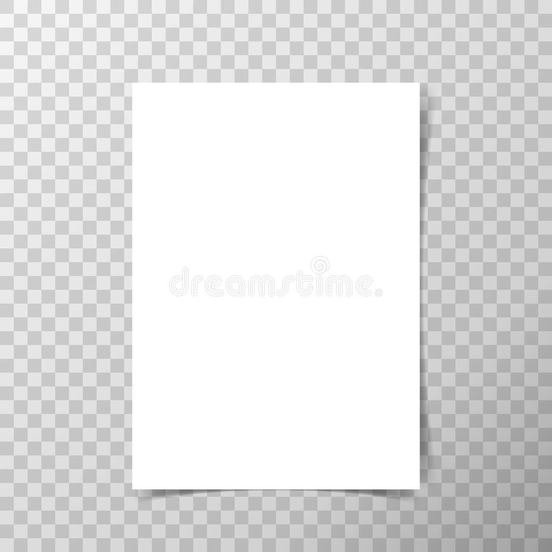 Vector A4 format paper with shadows on transparent background. stock images
