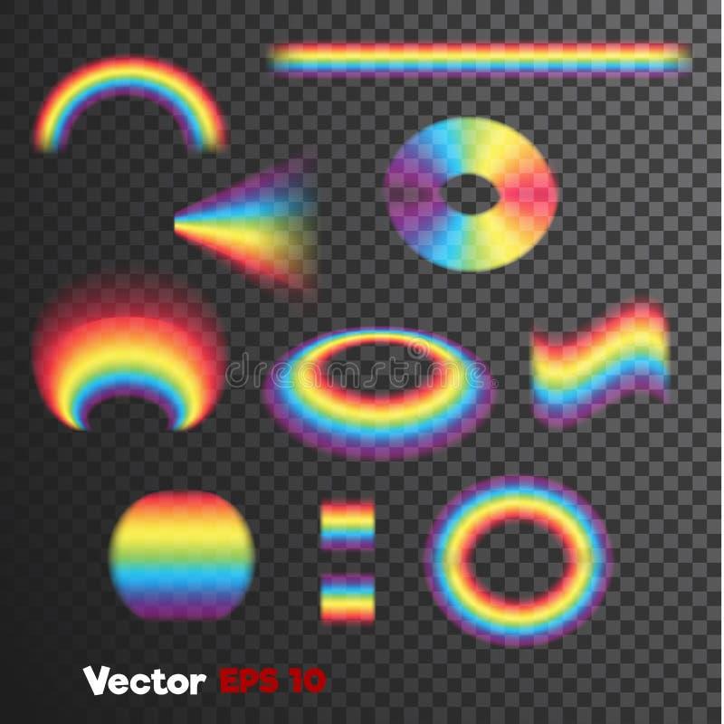Vector formulários dados forma 3d realísticos do arco-íris no fundo transparente escuro ilustração stock