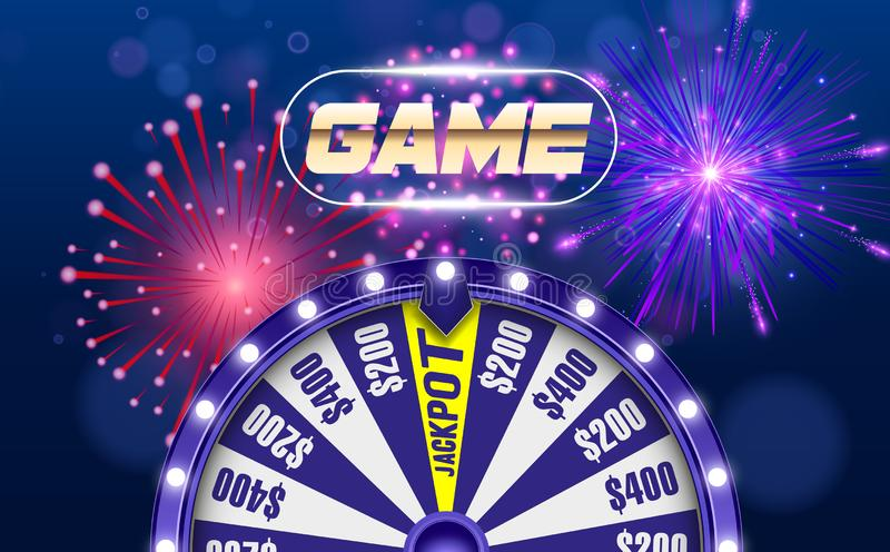 Vector fortune wheel, Online casino design concept. 3d object on abstract defocused circular blue bokeh background stock illustration