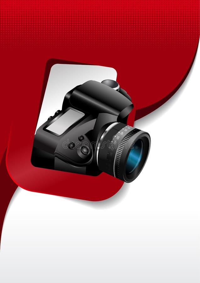 Vector fotografische achtergrond met de camera in de rechthoek vector illustratie