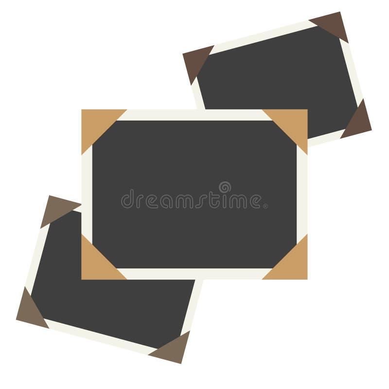 Vector Fotorahmen auf altem, gealtertem Hintergrundpapier Karierter Hintergrund stock abbildung
