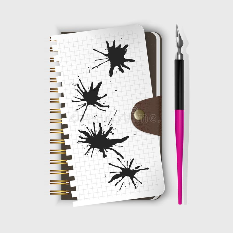 Vector fountain pen, fountain pen on notepad and Black ink paint spots. Realistic style illustrated. Fountain pen, fountain pen on notepad and Black ink paint stock illustration