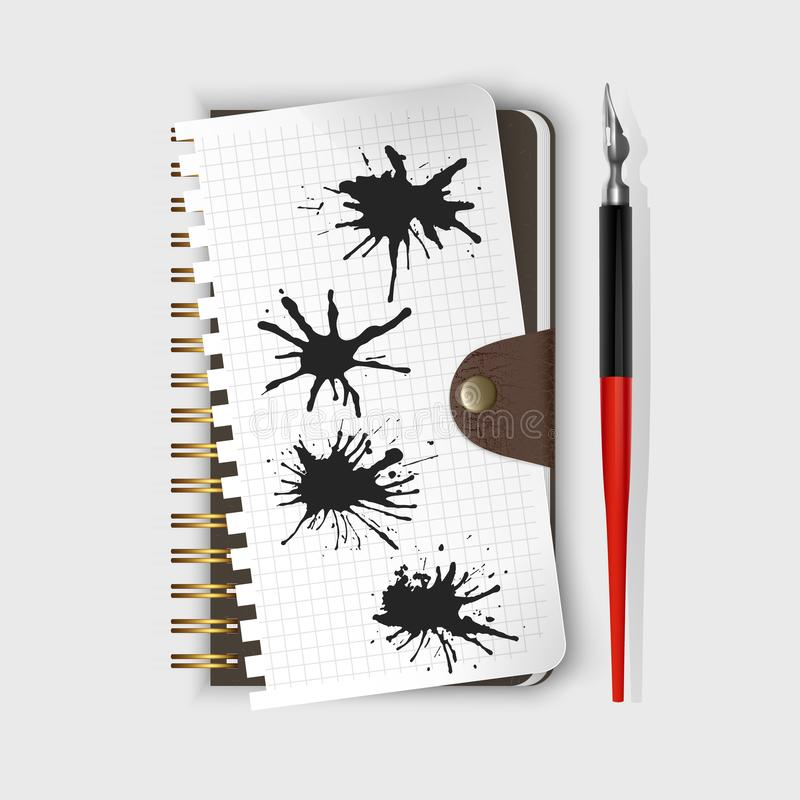 Vector fountain pen, fountain pen on notepad and Black ink paint spots. Realistic style illustrated. Fountain pen, fountain pen on notepad and Black ink paint royalty free illustration