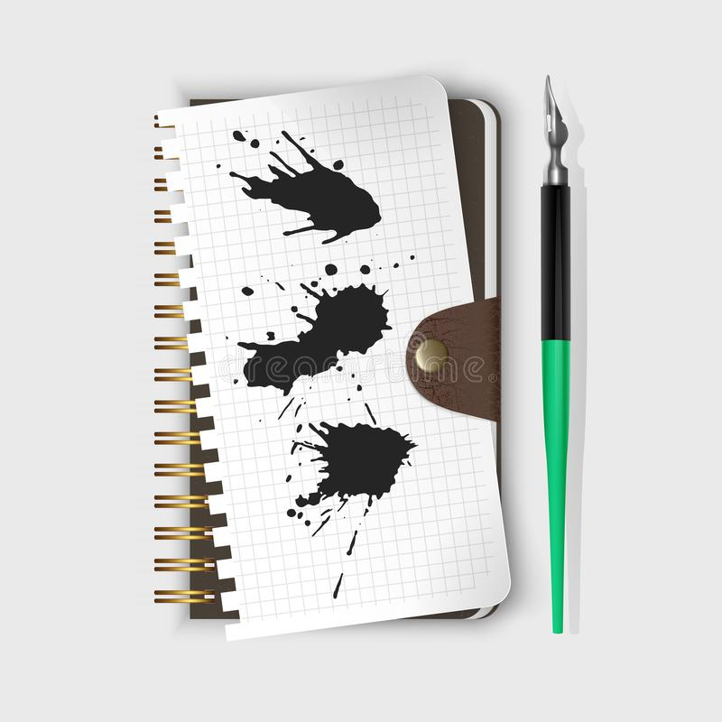 Vector fountain pen, fountain pen on notepad and Black ink paint spots. Realistic style illustrated. Fountain pen, fountain pen on notepad and Black ink paint vector illustration