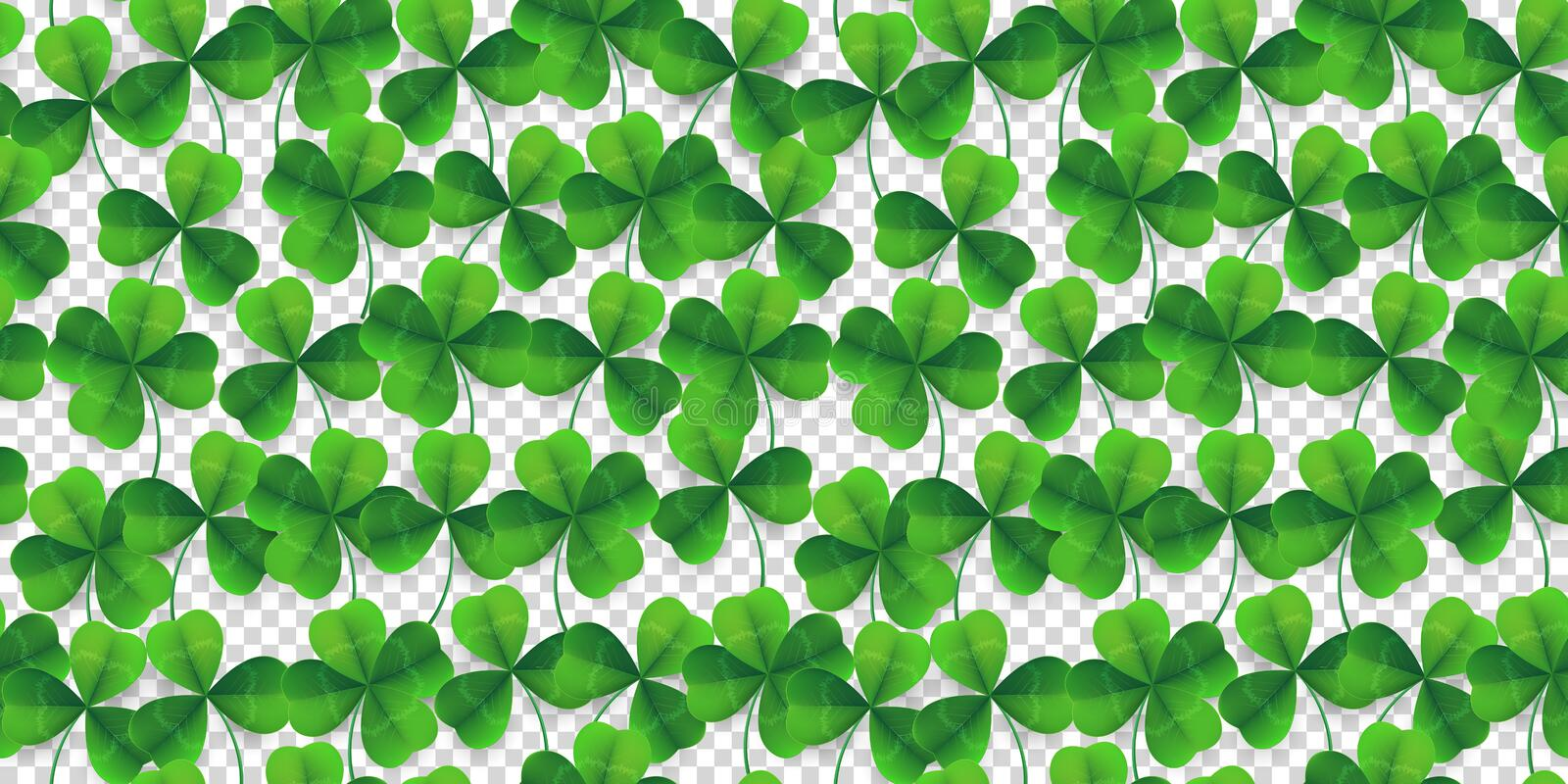 Vector four-leaf clover seamless pattern background. Lucky fower-leafed green background for festival St Patrick`s stock illustration