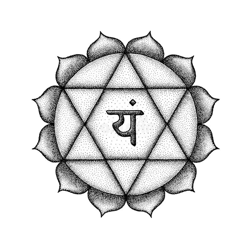 Hand drawn chakra Anahata illustration. Vector fourth heart Anahata chakra sanskrit seed mantra Yam hinduism syllable lotus petals. Dot work tattoo style hand royalty free illustration