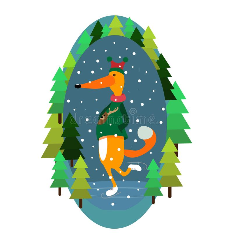 Vector fox illustration winter christmas new year snow skates forest cheerful picture color illustration vector illustration