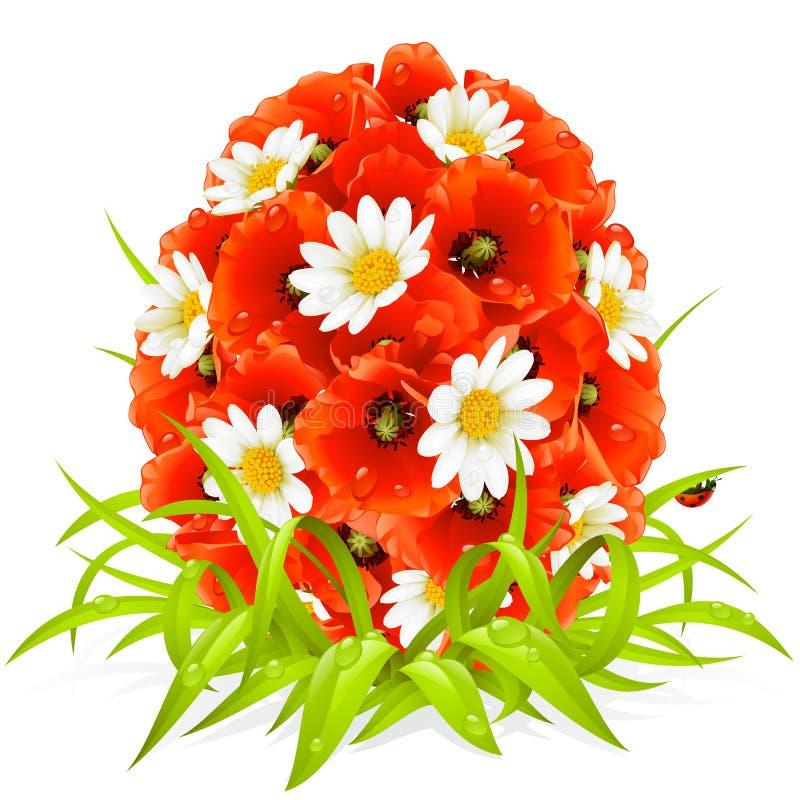 Vector Frühlingsblumen in der Form des Ostereies lizenzfreie abbildung