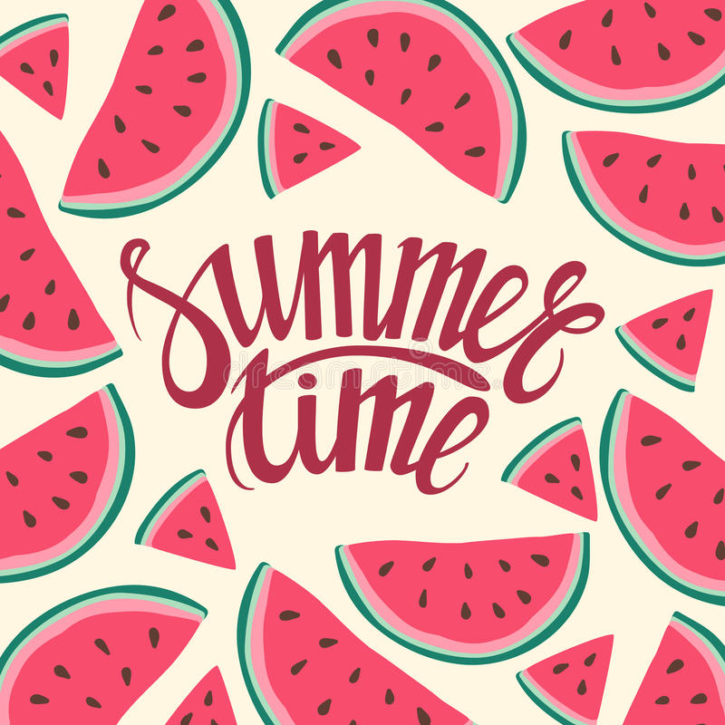 Vector frame background card Summer Time Seamless background with watermelon slices. Vector illustration. design for greeting card and invitation of seasonal stock illustration
