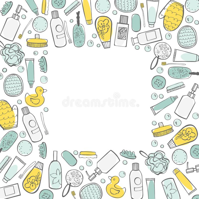 Vector frame with bathroom items. royalty free illustration
