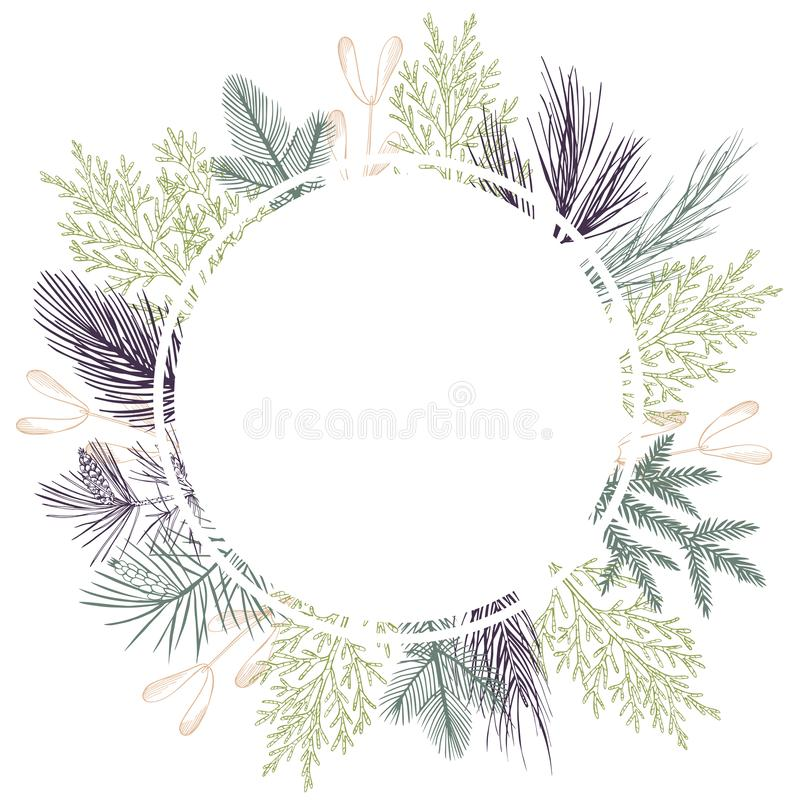 Vector frame with Christmas plant. Hand-drawn ilustration stock illustration