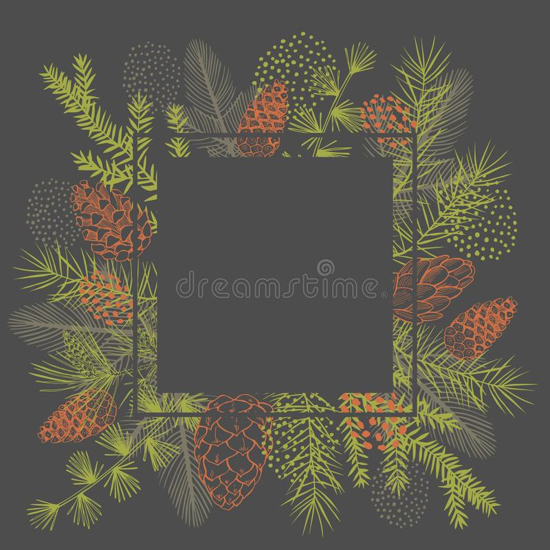 Vector frame with Christmas plant. vector illustration