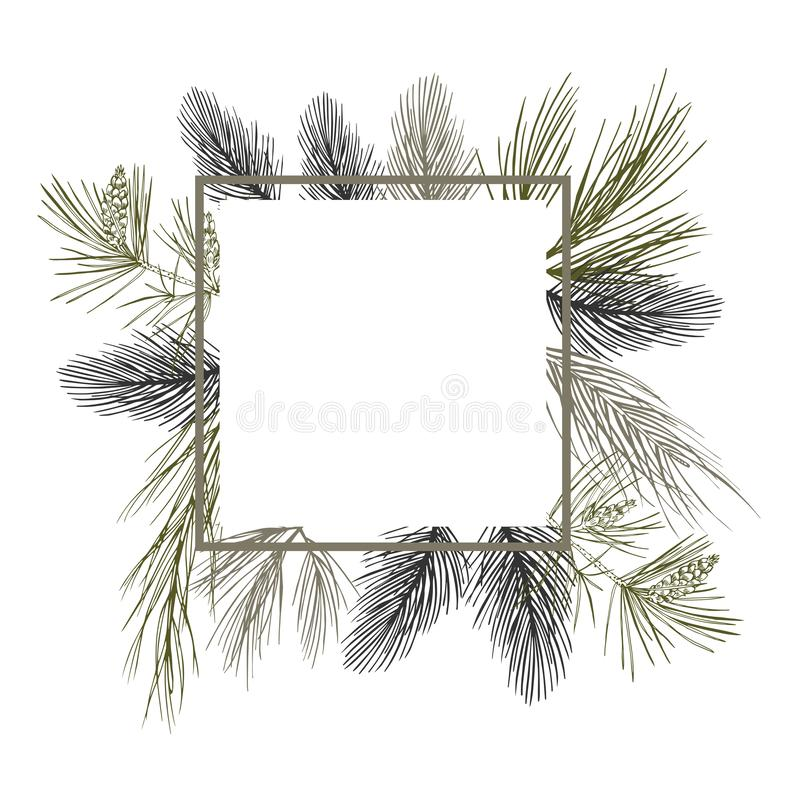 Vector frame with Christmas plant. Hand-drawn ilustration. royalty free illustration
