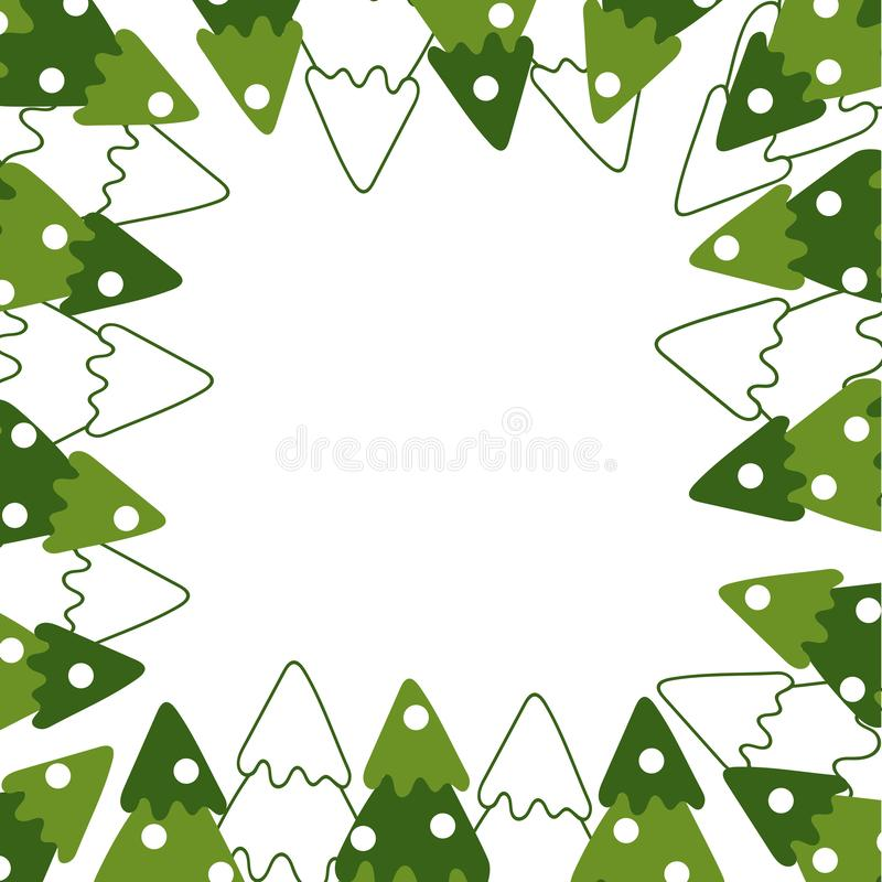 Vector Frame with contours and silhouettes of winter fir trees . Hand drawn style on white background vector illustration