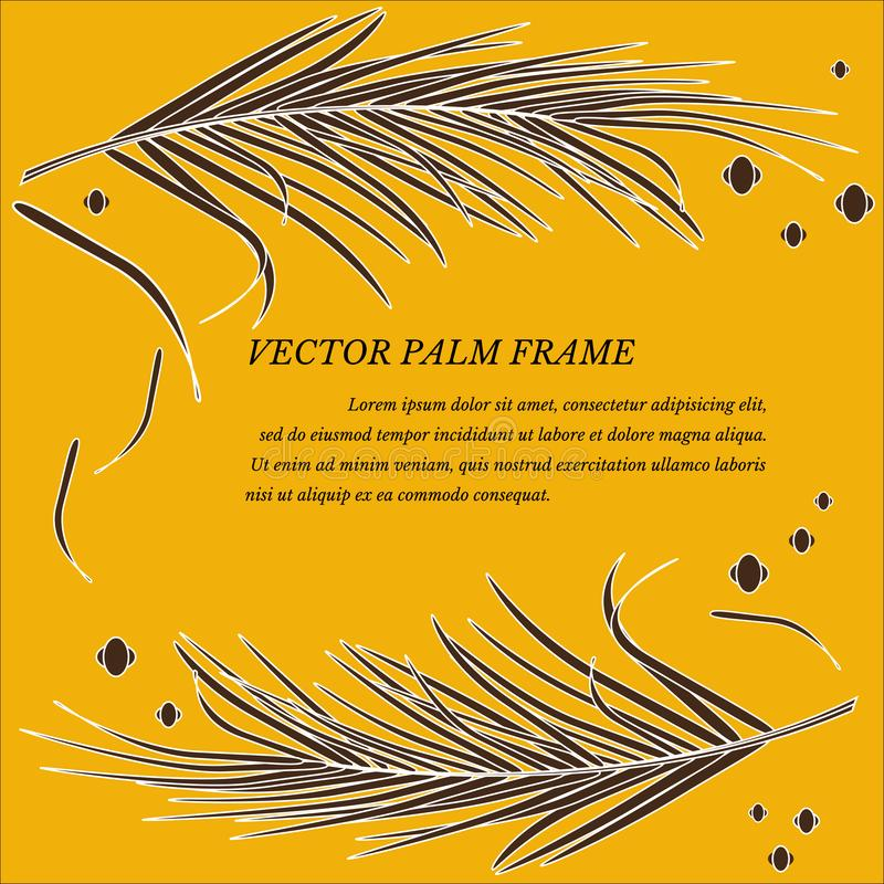 Vector frame with decorative palm leaves in tropics on luxury gold background. Bright fashionable golden luxurious colors. For decoration of background royalty free illustration