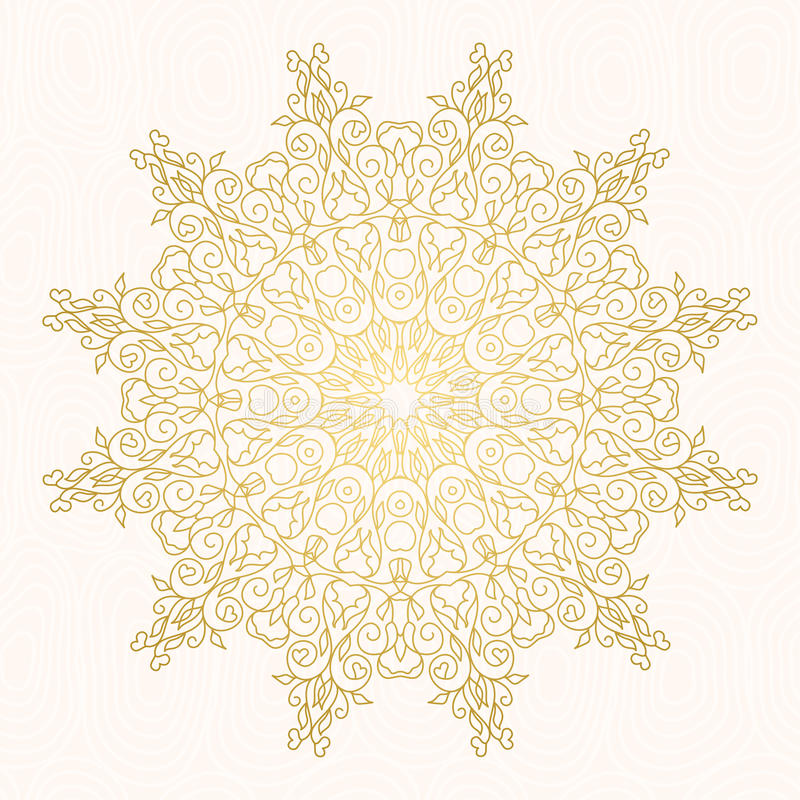 Vector frame for design template. Golden floral borders. Ornate round decor r for save the date, birthday, greeting card, wedding invitation, leaflet, poster vector illustration