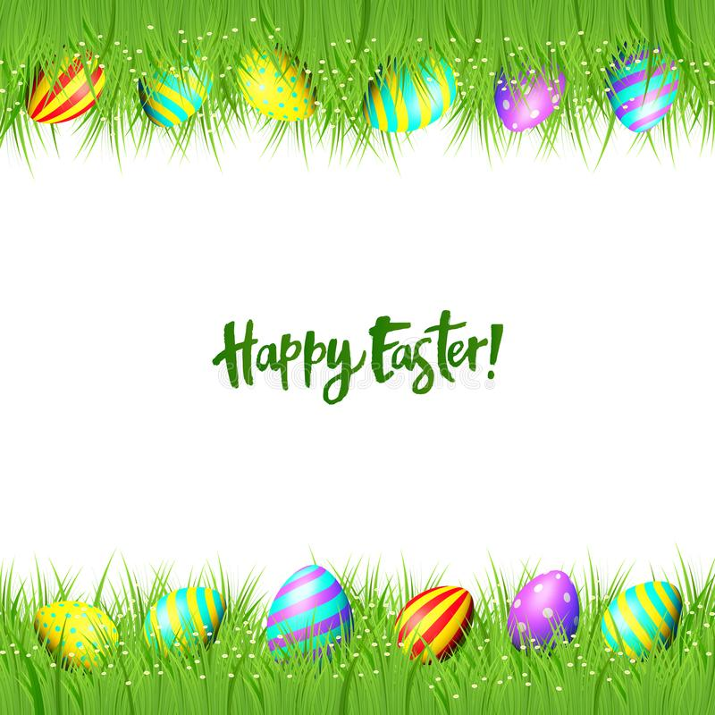 Vector frame of Easter eggs and green grass vector illustration