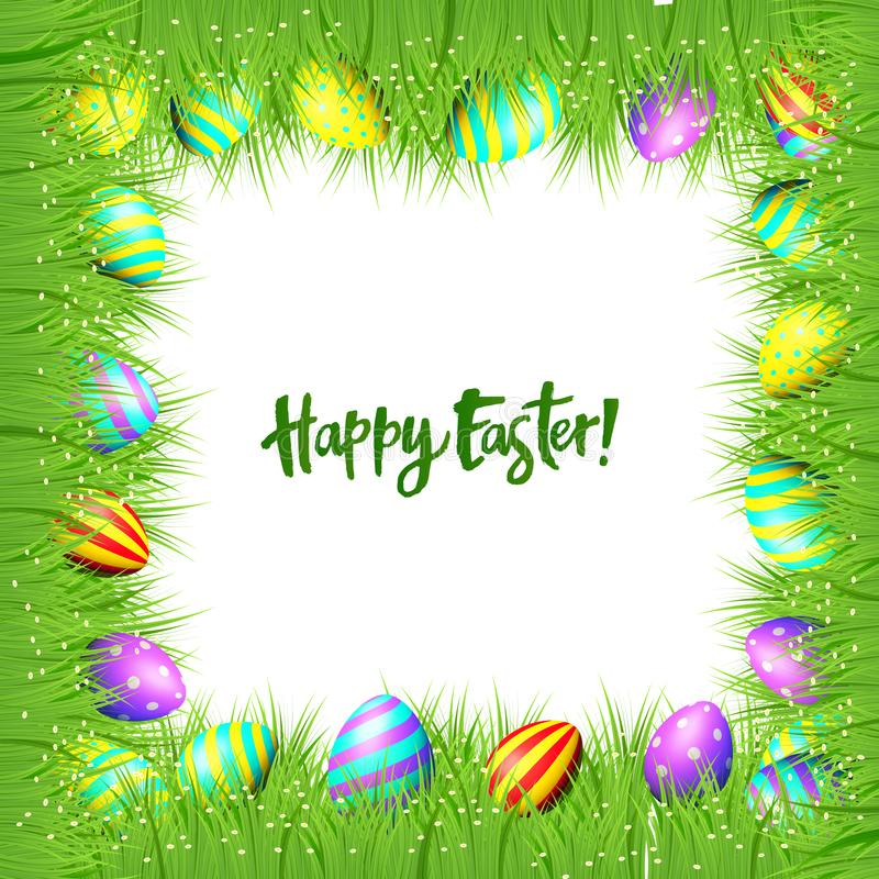 Vector frame of Easter eggs and green grass stock illustration