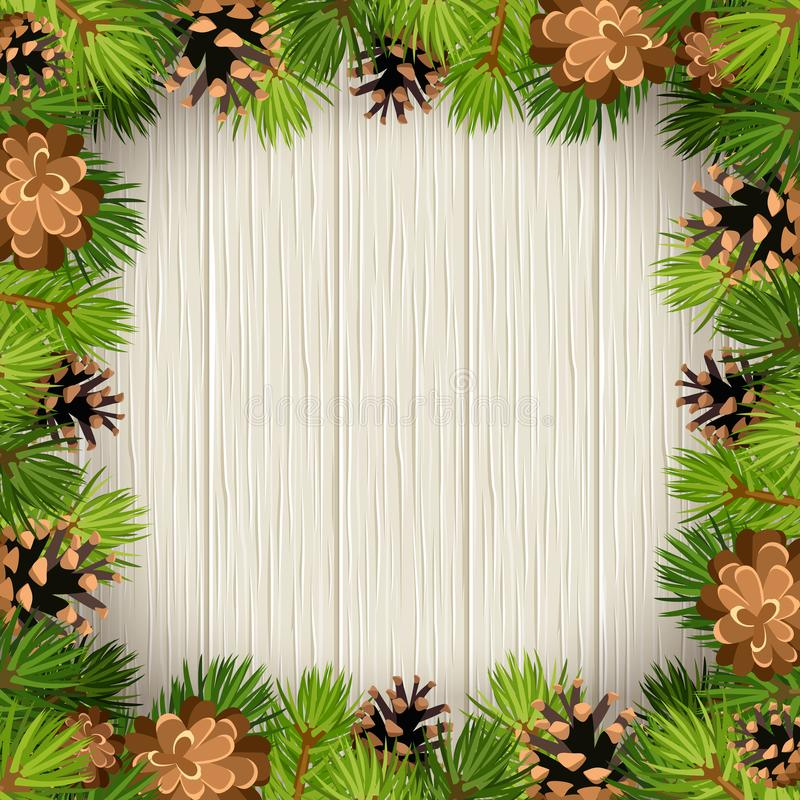 Vector frame with fir tree branches and cones on a wooden background. vector illustration