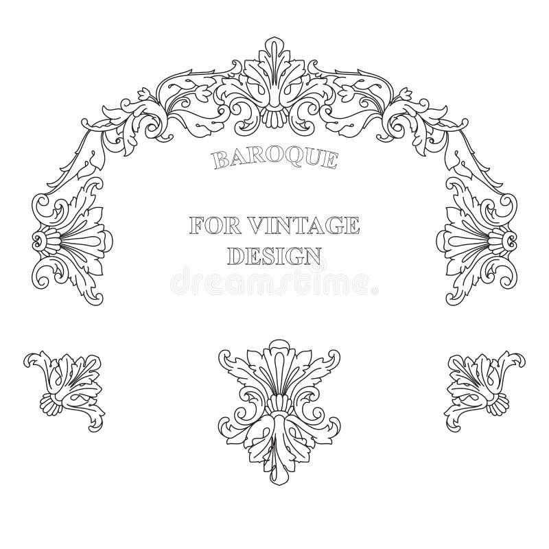 Vector frame with floral ornament on white background. Vector frame with floral ornament on white background for vintage design. Hand drawn art. Decorative vector illustration