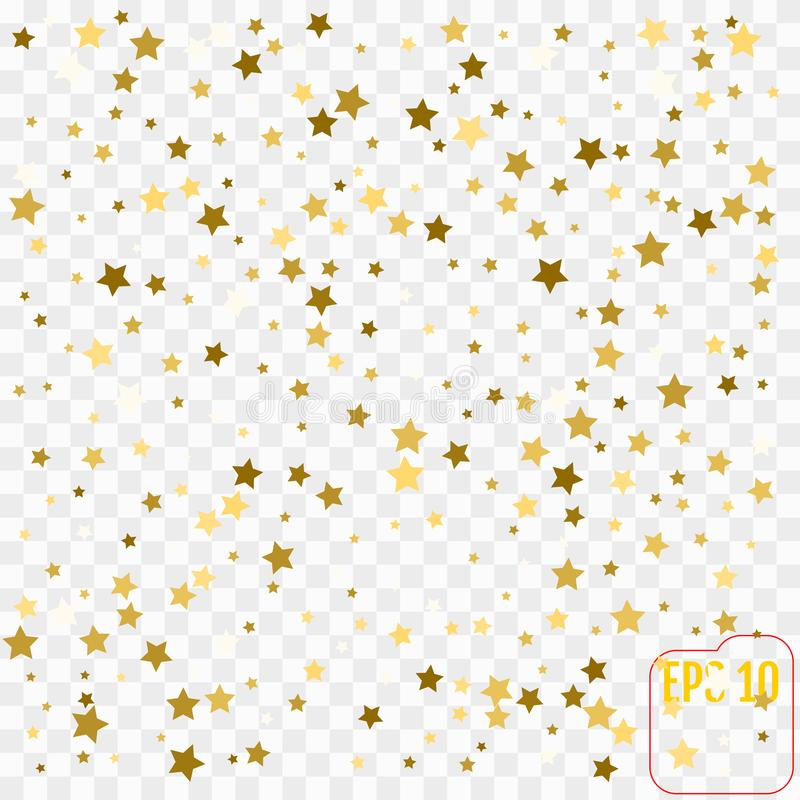 Vector frame of gold confetti. Gold stars on transparent vector illustration