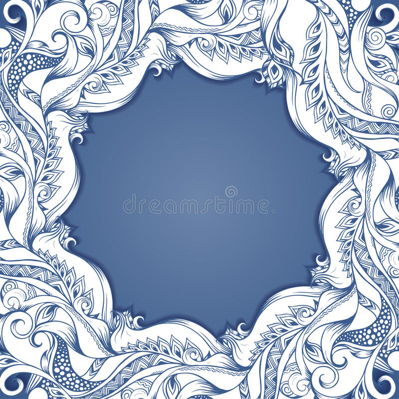 Vector frame with hand-drawing sketch. Filigree paper frame with hand-drawing graphic sketch for design, place for text vector illustration
