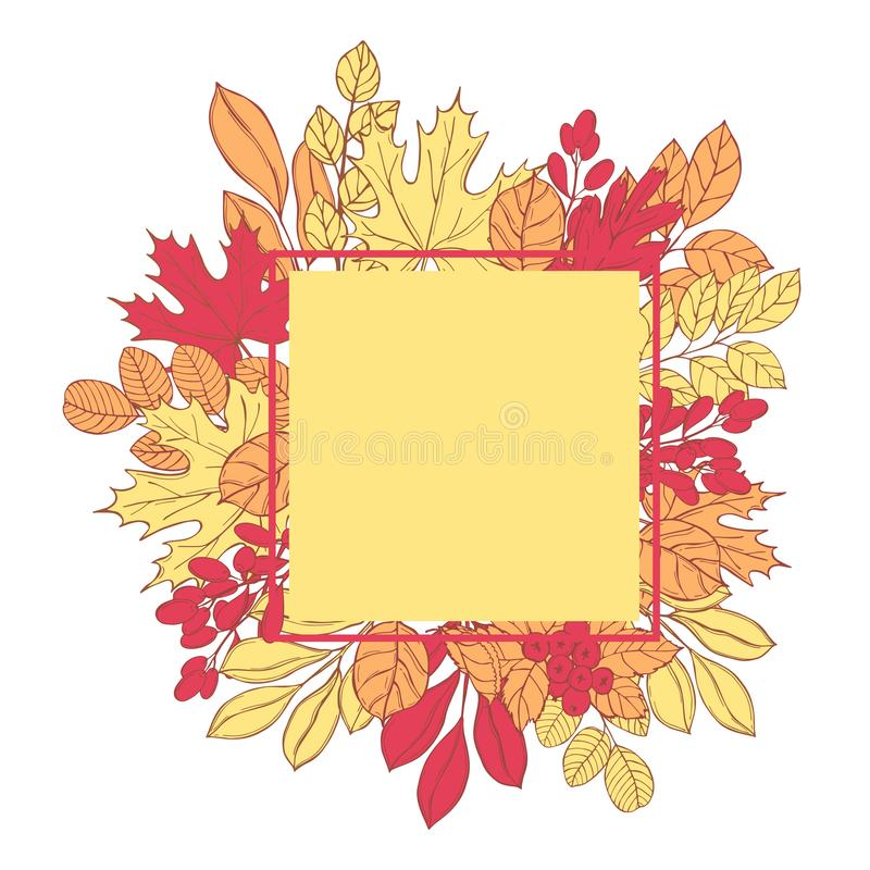 Vector frame with autumn leaves. royalty free illustration