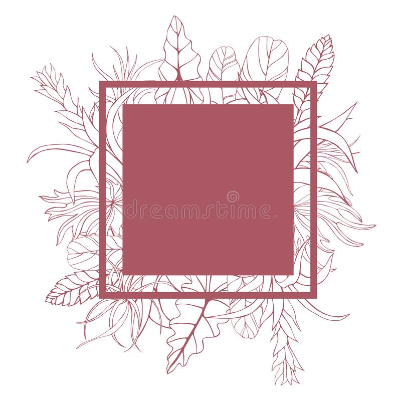 Vector frame with hand drawn tropical plants. stock illustration