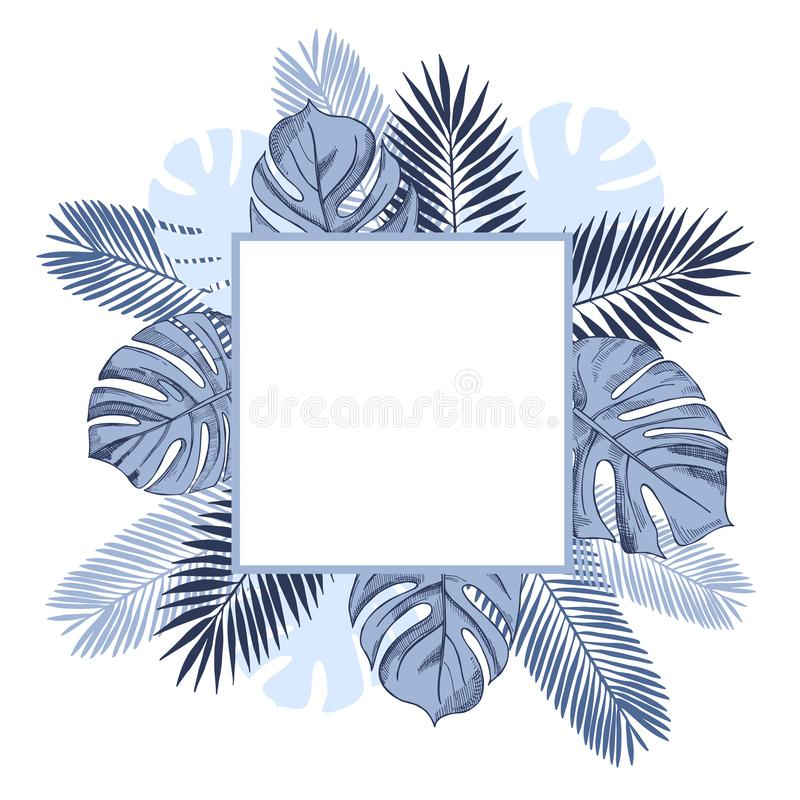 Vector frame with  tropical plants. stock illustration