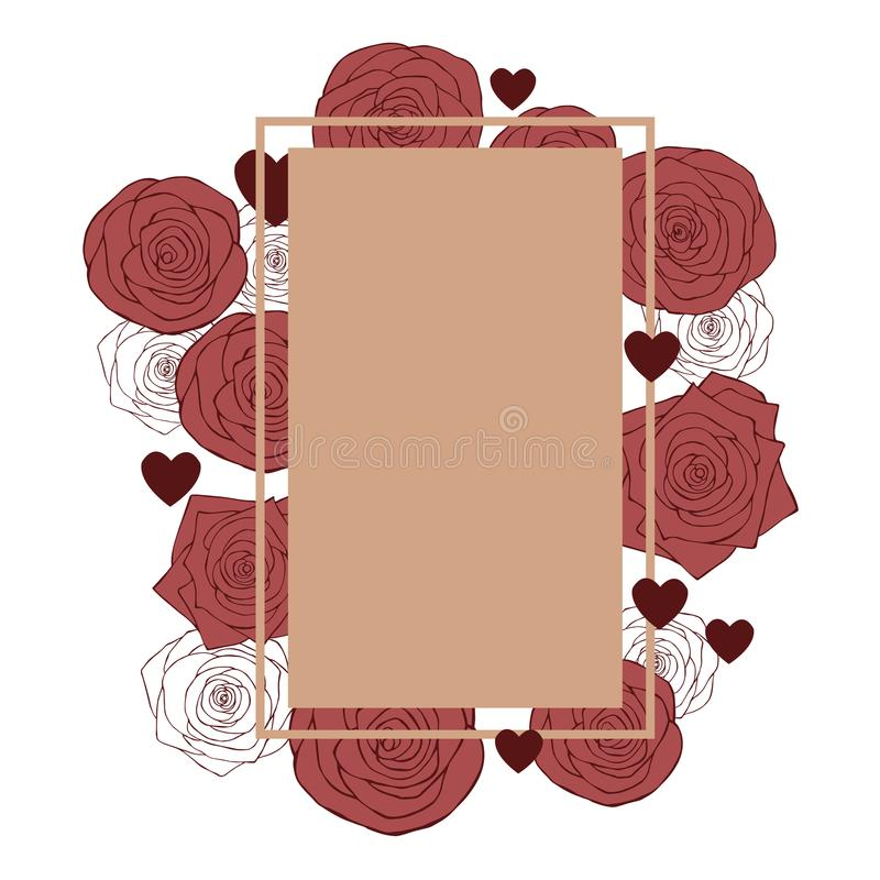 Vector frame with hearts and roses. Flowers on Valentine`s Day. vector illustration