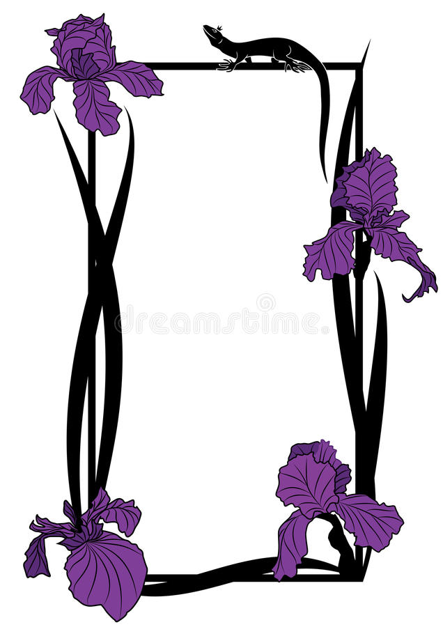 Vector frame with irises and lizard vector illustration