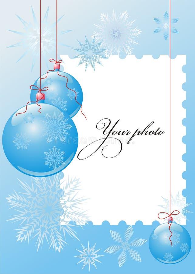 Vector frame met Kerstmisballen en sneeuwvlokken vector illustratie
