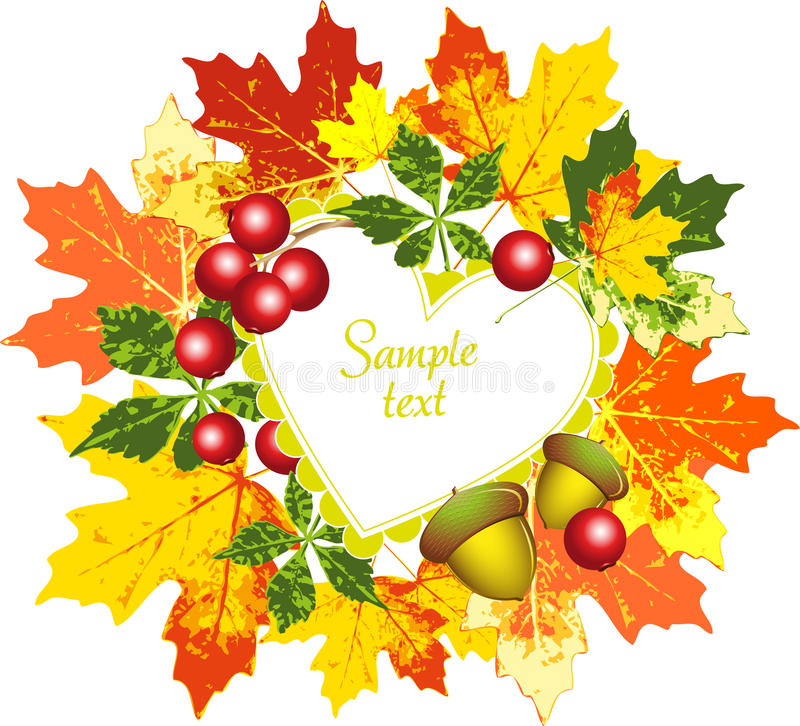 Vector frame with a pattern of autumn leaves, berr stock illustration