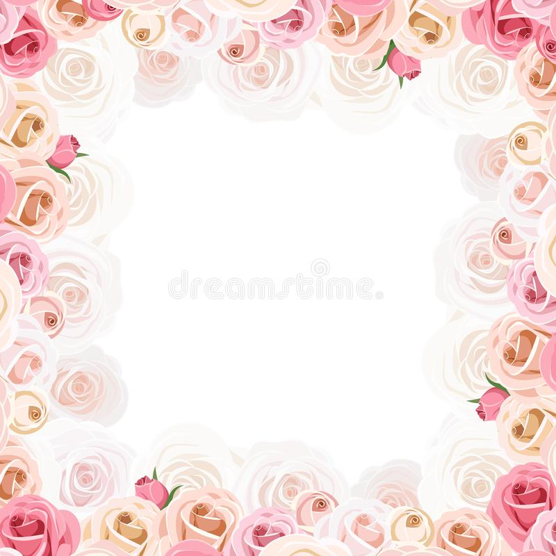 Frame with pink and white roses. Vector illustration. Vector frame with pink and white roses vector illustration