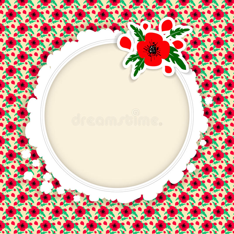 Vector frame with red poppies on the background and white blank space in the center. Template for postcar royalty free illustration