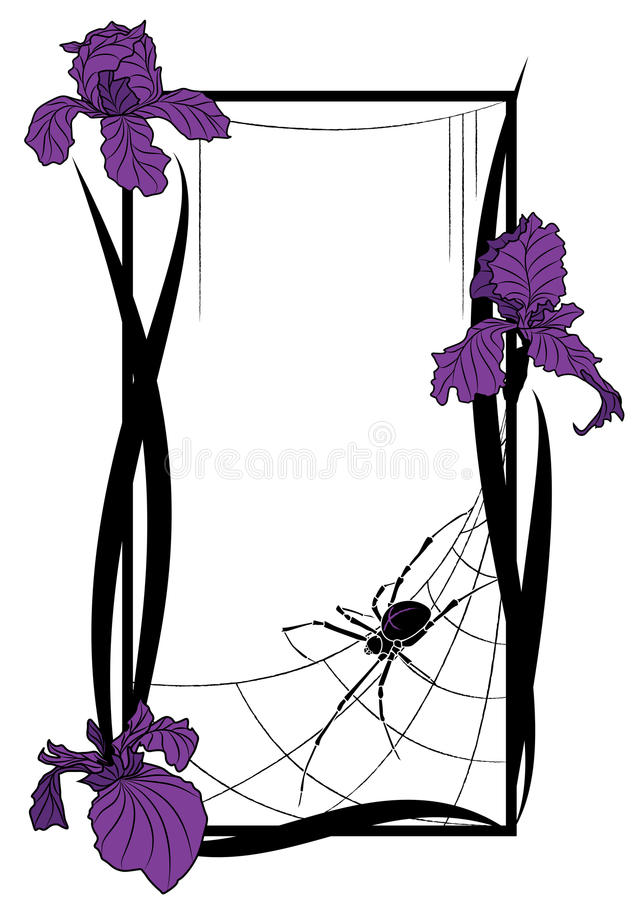 Vector frame with spider and irises stock illustration