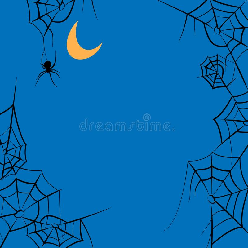 Spider webs and moon halloween frame vector. Vector frame with spider webs and moon stock illustration
