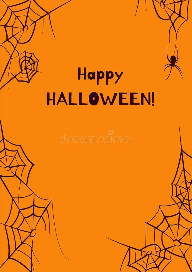 Spider webs orange and black frame vector. Vector frame of spider webs and spider stock illustration