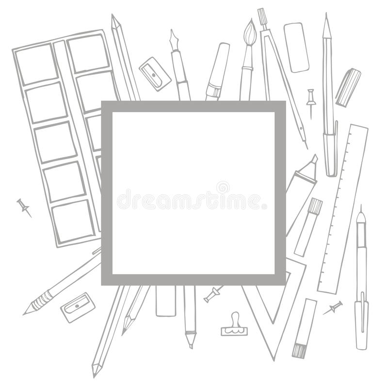 Vector frame with stationery on white background royalty free illustration