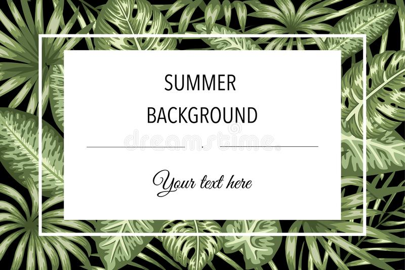 Vector frame template with tropical leaves on black background with white place for text. Horizontal layout card. Spring or summer royalty free illustration