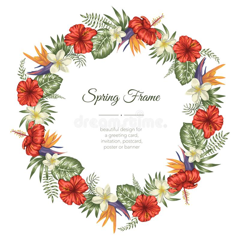Vector frame template with tropical leaves and flowers on white background. Vertical layout card with place for text. Spring or stock illustration
