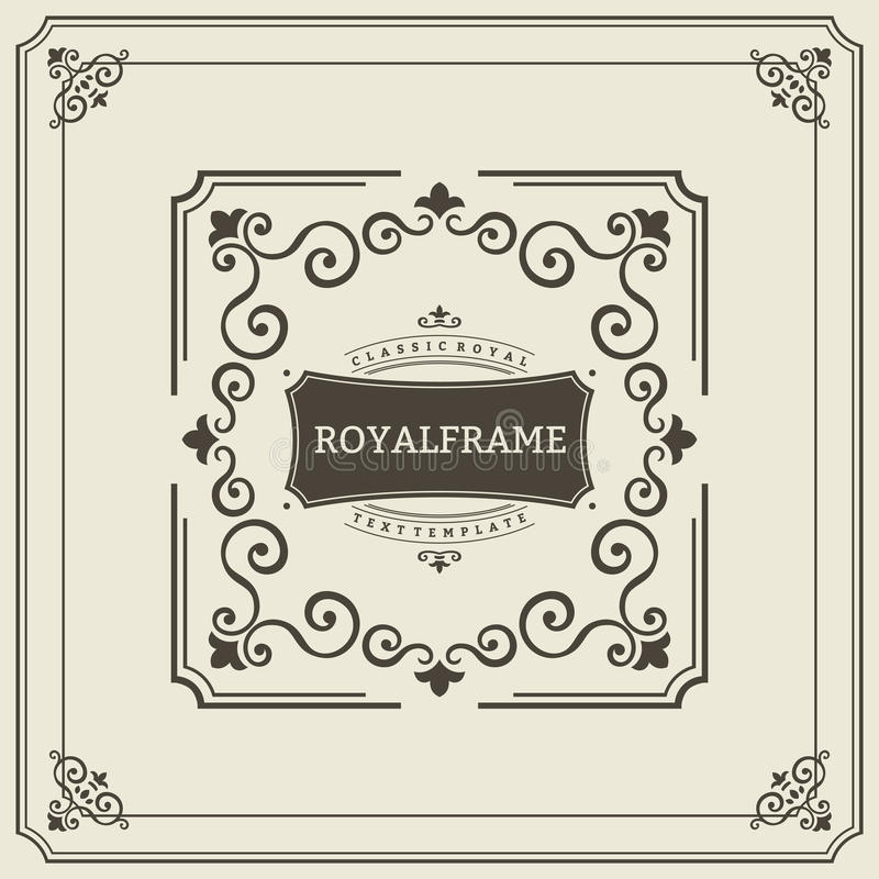 Vector Frame Template. Vintage Ornament Greeting Card. Flourishes Ornament Retro Royal Luxury Invitation, Certificate. With place for your Text. Ornamental royalty free illustration