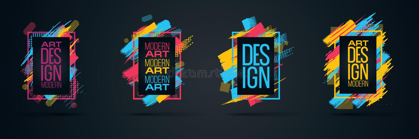 Vector frame for text Modern Art graphics for hipsters royalty free illustration